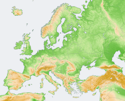 Topographical map of Europe: the Nazi Party declared support for Drang nach Osten (expansion of Germany east to the Ural Mountains), that is shown on the upper right side of the map as a brown diagonal line