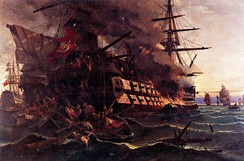 The attack on the Turkish frigate in the Gulf of Eressos at the Greek island of Lesvos by a fire ship commanded by Dimitrios Papanikolis during the Greek War of Independence. Painting by Konstantinos Volanakis