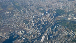 Aerial view of the central business district surrounded by the inner suburbs