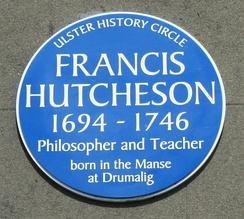 Plaque to Francis Hutcheson on the Guildhall, Saintfield