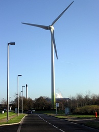 An Ecotricity wind turbine at Green Park Business Park, Reading, England.