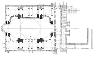Haghia Sophia, Istanbula) Plan of gallery (upper half)b) Plan of the ground floor (lower half)