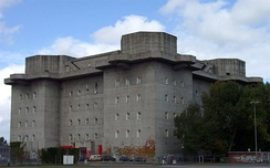 Flakturm on the Heiligengeistfeld in Hamburg – one of four enormous fortress-like bunkers which were built of reinforced concrete between 1942 and 1944 and equipped with anti-aircraft artillery for air defense