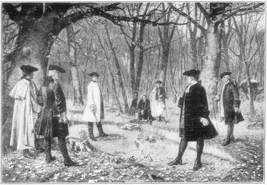 Alexander Hamilton fights his fatal duel with Aaron Burr.