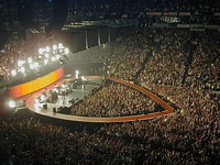 After the elaborate stadium productions of their previous two tours, U2's 2001 Elevation Tour was a scaled-down affair that featured a heart-shaped stage.