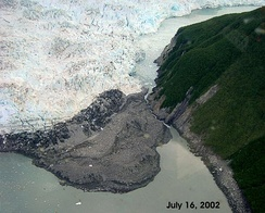 The Hubbard Glacier closed off the Russell Fjord from Disenchantment Bay in 2002 to cause the waters behind the glacier to rise 61 feet (19 m) over 10 weeks in a proglacial lake until they broke through.