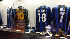 Jerseys of Ronaldo (number 10), Zamorano (one plus eight) and Figo (seven) in the San Siro museum