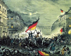 Revolutionaries in Berlin in March 1848, waving the revolutionary flags