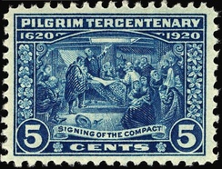 Five-cent stamp for the tercentenary, depicting the signing of the Mayflower Compact