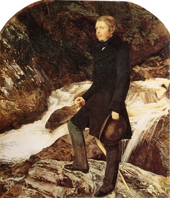 John Ruskin painted by the Pre-Raphaelite artist John Everett Millais standing at Glenfinlas, Scotland, (1853–54)[41]