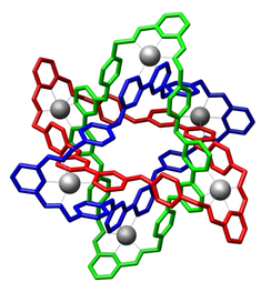 Crystal structure of molecular Borromean rings reported by Stoddart et al. (Science 2004)[9]