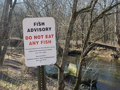 """Do not eat any fish"", a sign by the creek downstream of Dillman Road Wastewater Treatment Plant"