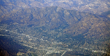 I-210 in La Crescenta-Montrose, below Mount Lukens. Intersection with Glendale Freeway at lower right-center.