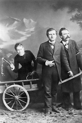Lou Salomé, Paul Rée and Nietzsche in 1882 as the three traveled through Italy, planning to establish an educational commune together, but the friendship disintegrated in late 1882 due to complications from Rée and Nietzsche's mutual romantic interest in Salomé