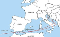 Diagram of the route that nuclear bomb-carrying B-52s would take to enemy countries. It follows the Mediterranean Sea, and passes over Italy before turning north over the Adriatic Sea.