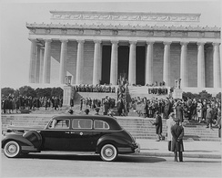 Photograph of ceremony at Lincoln Memorial attended by Vice President Truman, celebrating Lincoln's Birthday on February 12, 1945
