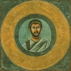 Alleged portrait of Terence, from Codex Vaticanus Latinus 3868.  Possibly copied from 3rd-century original.
