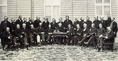 Delegates of the Quebec Conference of 1864. Retention of separate school boards with public funding was a major issue towards Canadian Confederation.