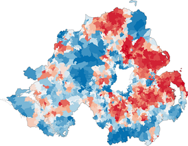 Map of religion or religion brought up in from the 2011 census in Northern Ireland. Stronger blue indicates a higher proportion of Catholics. Stronger red indicates a higher proportion of Protestants and Other Christians.