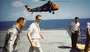 Alan Shepard on the deck of the aircraft carrier USS Lake Champlain after recovery of Freedom 7