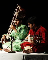 Two Indian musicians performing a raga duet called Jugalbandi.