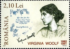 Virginia Woolf portrayed on Romanian stamp 2007