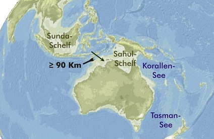 Map showing the probable extent of land at the time of the last glacial maximum 25,000 to 15,000 years ago