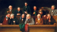 A nineteenth-century painting of a jury composed exclusively of white men