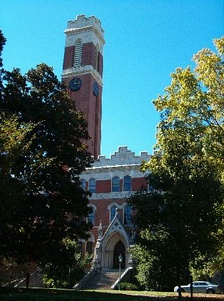 After a fire, Old Main hall was rebuilt with one tower and renamed Kirkland Hall. It is currently home to Vanderbilt's administration.
