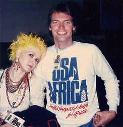 Cyndi Lauper, studio badge, and the sweatshirt given to all attendees at A&M Studios in Hollywood California on January 28, 1985