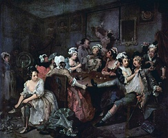 The sex comedies of the Restoration predated the theme of the rake in William Hogarth's painting series A Rake's Progress (third painting, 1732–35)