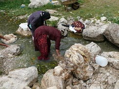 Qashqaï women washing wool in the spring of Sarab Bahram (Cheshm-e Sarab Bahram), region of Noorabad, Fārs province, Iran