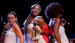 Daulne (center) performs with Zap Mama at Bumbershoot 2007 in Seattle on September 3, 2007. Photo Credit: Bruce C Moore