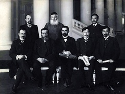 A group of Azeri deputies of the II State Duma of the Russian Empire. Seated left is Fatali Khan Khoyski, seated right is Khalil Khasmammadov, 1907.