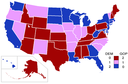 Senators' party membership by state