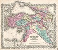 1855 map of Turkey in Asia by Joseph Hutchins Colton