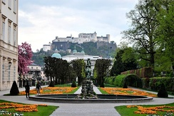 Gardens in Mirabell Palace, with Hohensalzburg Fortress in the distance