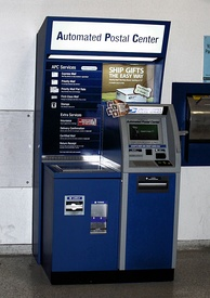 A 24-hour Automated Postal Center kiosk inside the Webster, Texas main post office
