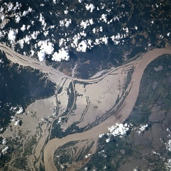 NASA satellite image of a flooded portion of the river