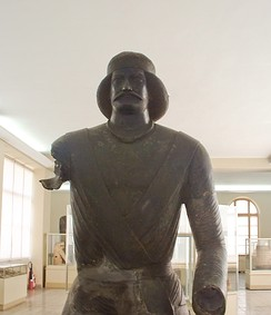 A bronze statue of a Parthian nobleman from the sanctuary at Shami in Elymais (modern-day Khūzestān Province, Iran, along the Persian Gulf), now located at the National Museum of Iran.