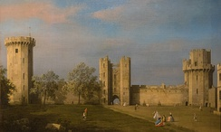 The east front of Warwick Castle from inside the courtyard, painted by Canaletto in 1752.
