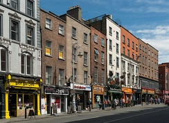 Brick architecture of multi-storey buildings in Dame Street in Dublin