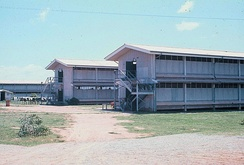 "Barracks at Camp Friendship, part of a group of five ""H-type"" open bay design south of Bataan Drive used by the air force in 1973"