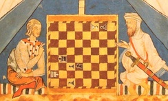 A Christian and a Muslim playing chess in 13th-century al-Andalus