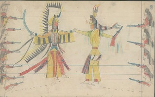 Ledger drawing of a Cheyenne war chief and warriors (left) coming to a truce with a Crow war chief and warriors (right)