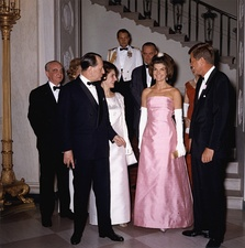 Jacqueline Kennedy, the wife of President John F. Kennedy, made pink a popular high-fashion color.