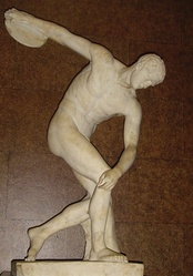 A copy of the Ancient Greek statue Discobolus, portraying a discus thrower