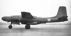 XA-26A prototype of proposed night fighter in July 1943, painted black with radar in nose and underfuselage gunpack