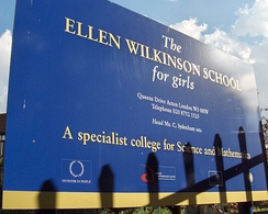 A sign at Ellen Wilkinson School, Acton, London
