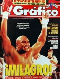 Foreman celebrating his new world championship at 45 years old, after beating Michael Moorer